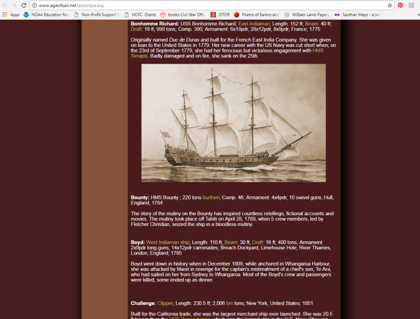 Age of Sail website